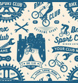 set bmx extreme sport club seamless pattern vector image