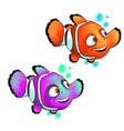 set cute smiling clown fish isolated on white vector image vector image