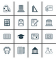 set of 16 education icons includes electronic vector image vector image