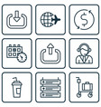 set of 9 airport icons includes money trasnfer vector image vector image