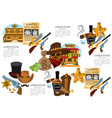 set of on the theme of the wild west vector image vector image