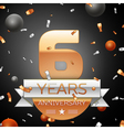 Six years anniversary celebration background with vector image vector image