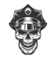 skull in policeman hat vector image