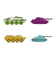 tank icon set color outline style vector image vector image