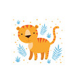 tiger and tropical leaves vector image