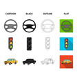 traffic light old car battery wrench car set vector image vector image