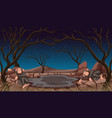 two monkeys dying in drought land vector image