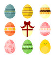 various easter egg decorative set vector image