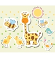 Vintage doodle set little zoo for greeting card vector image