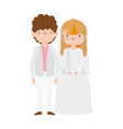 wedding couple bride and groom in elegant suits vector image vector image