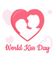 world kiss day with heart boy and girl kissing vector image vector image