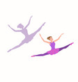 young ballerina flying high and far with enjoyment vector image vector image