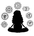 silhouette of a pregnant woman meditating vector image