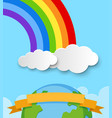 banner template with earth and rainbow in sky vector image