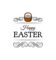 basket full of easter eggs decoration element vector image vector image