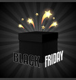 black friday sale box on black background vector image vector image