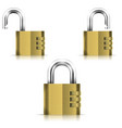 Brass Open And Closed Isolated Padlock vector image vector image