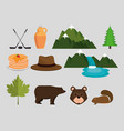 canadian culture set icons vector image