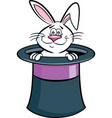 cartoon rabbit coming out of a top hat vector image