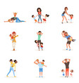 cartoon set of tired young parents in different vector image