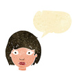 cartoon worried female face with speech bubble vector image vector image