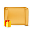 christmas paper scroll card with present gift box vector image