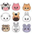 collection of cute animal faces big icon vector image