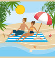 couple taking sun in beach vector image
