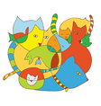 Cute card with cats funny vector image