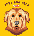 cute dog face vector image vector image