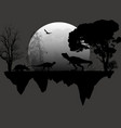 dinosaurs silhouettes in front a full moon vector image vector image