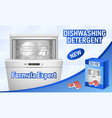 dishwasher concept background realistic style vector image