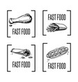fast food hand drawn icon set vector image
