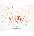 Firecracker with fireworks popping on white vector image vector image
