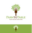 fork tree logo vector image vector image