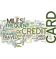 frequent flyer credit cards text background word vector image vector image