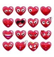 Funny cartoon heart character emotions set vector image vector image