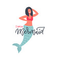 hand drawn mermaid with funny vector image