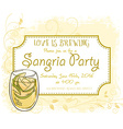 hand drawn sangria party invitation card vintage vector image vector image