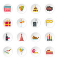 happy birthday icons setflat style vector image vector image