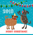 happy dogs 2018 merry christmas card vector image vector image