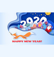 happy new year 2020 3d paper cut art vector image vector image