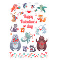 happy valentine s day greeting card with animals vector image vector image