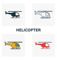 helicopter icon set four elements in diferent vector image
