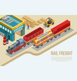 isometric railway freight delivery vector image vector image