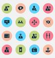 job icons set with caution employee speech team vector image