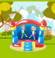 jumping on a trampoline kids outdoor vector image