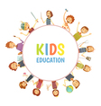 Kids Education Round Frame Cartoon Emblem vector image vector image