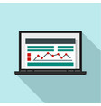 laptop finance graph icon flat style vector image