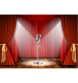 Microphone and red curtain vector image vector image